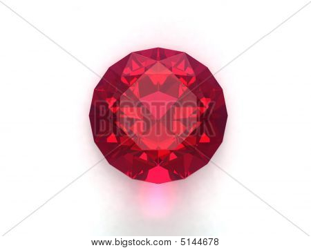 Ruby gemstone isolated on white. Unique content for gems catalogues. poster