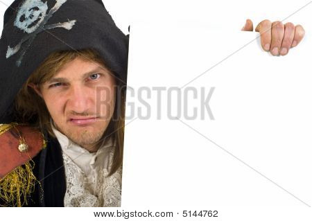 Pirate Holding A Sign