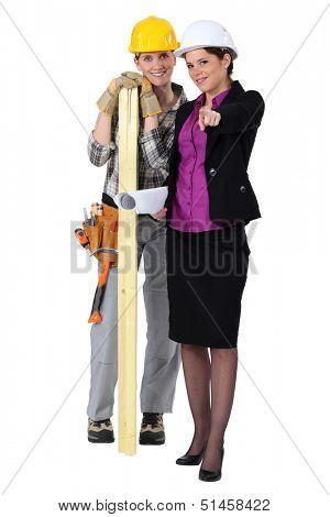 Female carpenter and architect