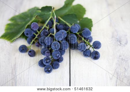 Grapes on wooden barrell