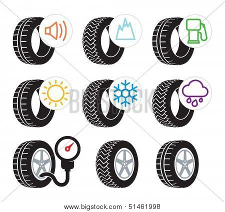 Tire efficiency performance icons and label set