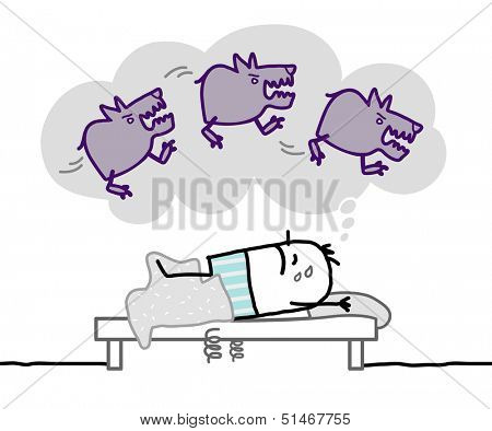 sleeping man & nightmare  poster