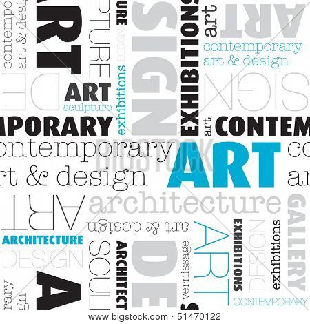 Seamless contemporary art and design typography text background pattern in vector