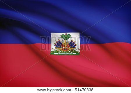 Series Of Ruffled Flags. Republic Of Haiti.