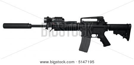 Ar-15 Assault Rifle Side View