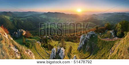 Landscape With Rocky Mountains At Sunset In Slovakia - Eastern Europe