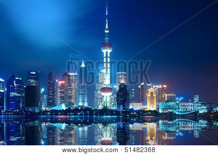 Night Shanghai Skyline