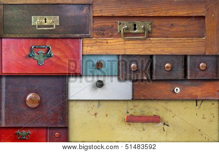 Abstract collage of the various old drawers - in utter secrecy poster