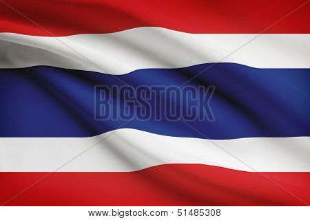 Series Of Ruffled Flags. Kingdom Of Thailand.