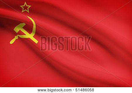 Series Of Ruffled Flags. Union Of Soviet Socialist Republics.