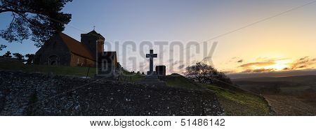 Hilltop Church Dawn Landscape
