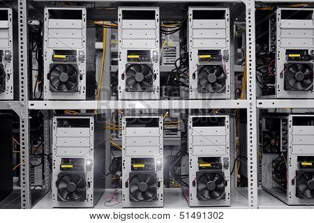 Modern Computer Cases In A Data Center