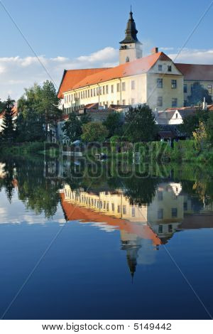 Church Reflection At Telc, Czech Republic