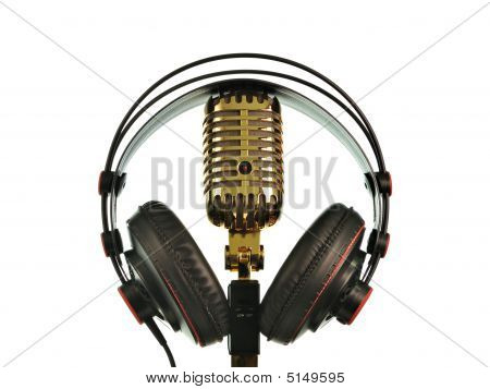 Retro Golden Microphone With Headphone
