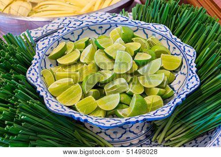 Sliced Lime Ready For Thai Dish