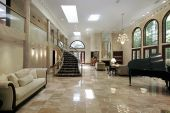 Huge great liviing room with marble floors poster