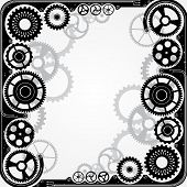 Mechanical cog wheel frame. Abstract vector illustration. poster