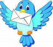 Vector illustration of Cute bird cartoon delivering letter poster