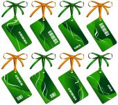 Collection from eight green business cards with bows poster