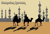 Abstract colorful background with caravan passing near an islamic town. Islamic greeting card for the holy month of Ramadan Kareem poster