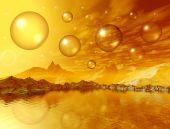 Landscape. 3D computer graphics. Mountains and golden bubbles poster