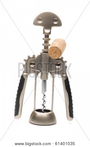 An installation of a corkscrew and a cork itself as an object of art