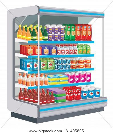 Preview cabinet shop with dairy and other products. poster