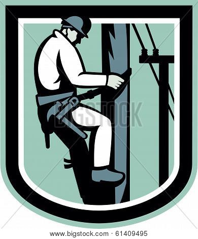 Illustration of a power lineman telephone repairman worker clmbing electric post repairing power cable done in retro style set inside shield. poster