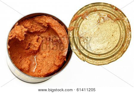 Open Canned Refried Beans over white.
