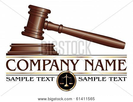 Illustration of a design for law, lawyers, or law firms that could be used as a logo. Includes a gavel, scales of justice and space for your text such as your company name, established date. etc. poster