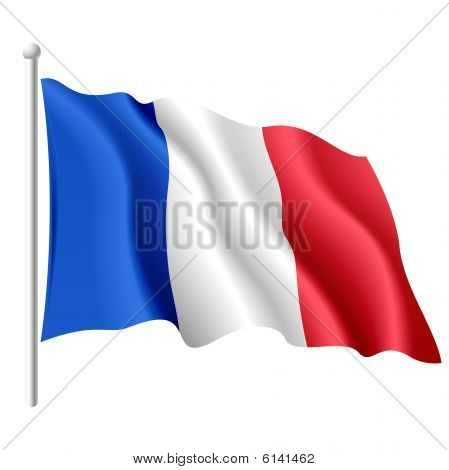 The vector illustration of flying flag of France. poster