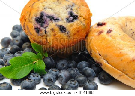 Blueberry Muffin And Bagel