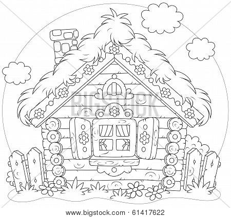 Rustic log house in a folk traditional style poster