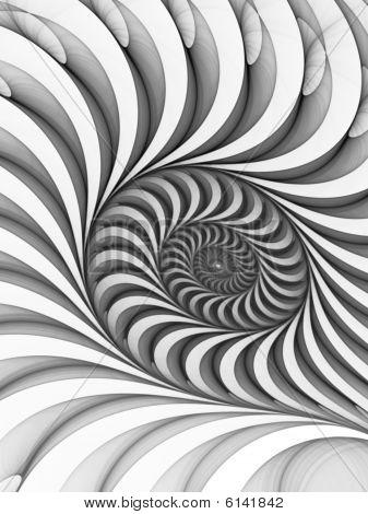 Monochrome White to Black Bas Relief Spiral