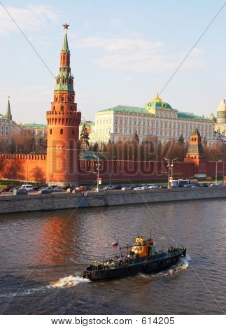 Kremlin's Tower At Red Suare And River In Moscow.