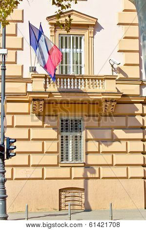 Embassy Building With Security Cameras And Windows