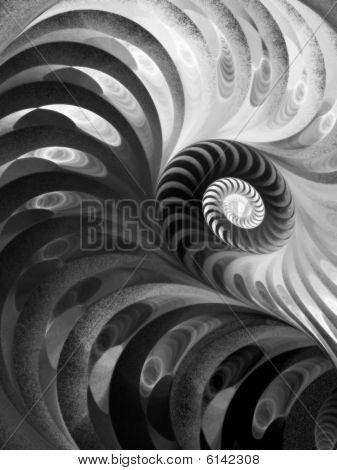 B&W Textured Spiral - Fractal Design