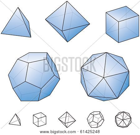 Platonic Solids With Blue Surfaces