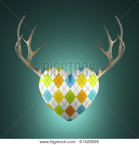 Rhombus Heart With Antlers On The Turquoise Background