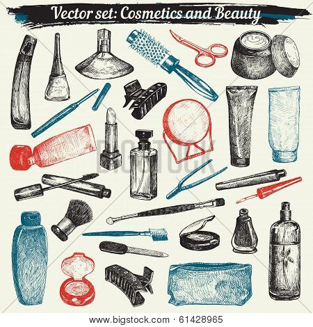 Cosmetics And Beauty Doodles Set Vector