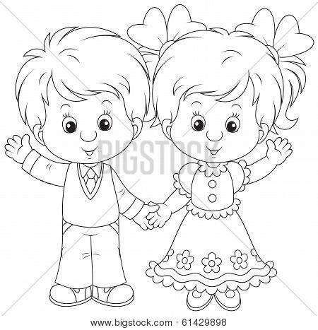 Little boy and girl waving