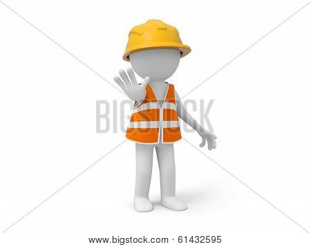 """A 3d safety worker making a """"STOP"""" gesture poster"""