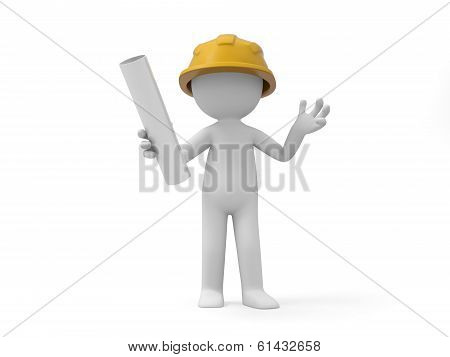 A 3d safety worker holding something in hand poster