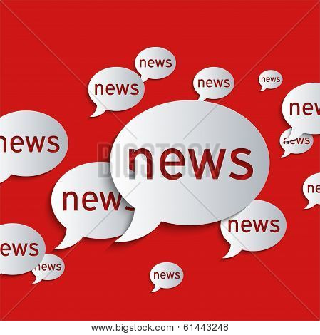 News balloons on a red background. Abstract 3d paper graphics. poster
