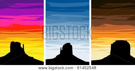 Monument Valley Silhouettes On Different Sunset Skies, Eps8 Vector