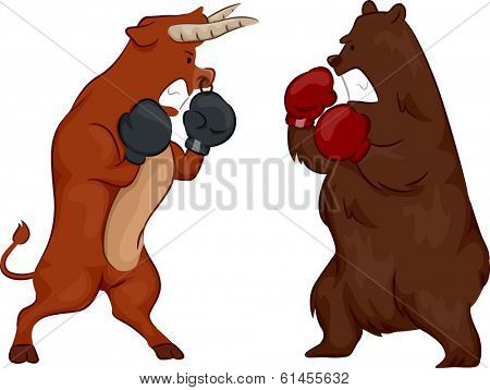 Illustration Depicting the Stock Market by Using a Bear and a Bull Wearing Boxing Gloves