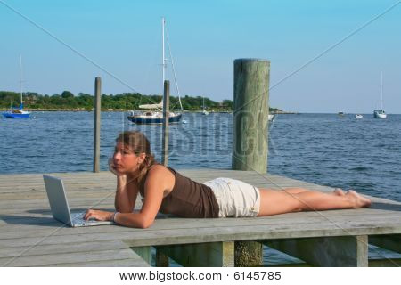 Boat Dock Surfer Girl