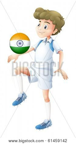 Illustration of a soccer player from India on a white background