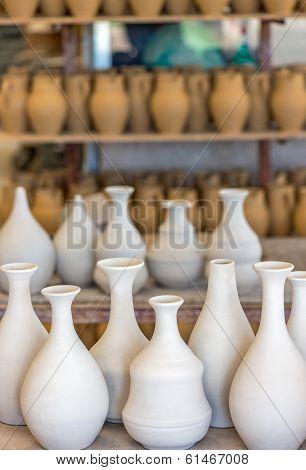 Shelves With Ceramic Dishware