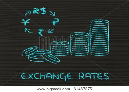 Stack Of Coins And Brics Currency Symbols, Exchange Rates